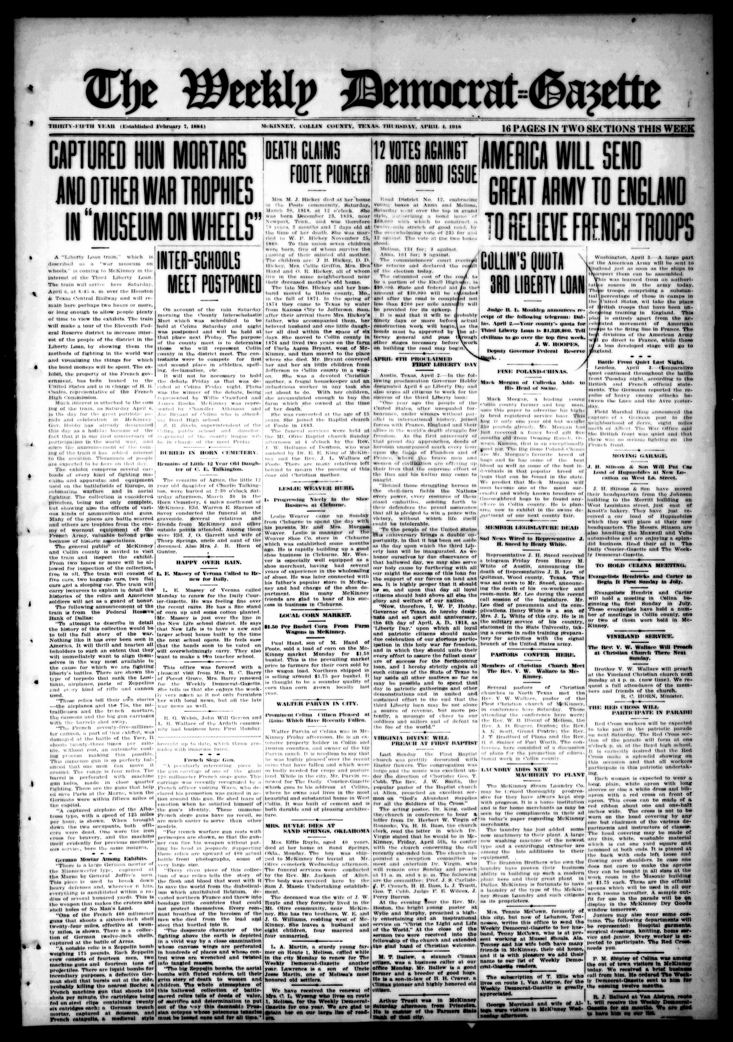 The Weekly Democrat-Gazette (McKinney, Tex.), Vol. 35, Ed. 1 Thursday, April 4, 1918                                                                                                      [Sequence #]: 1 of 16