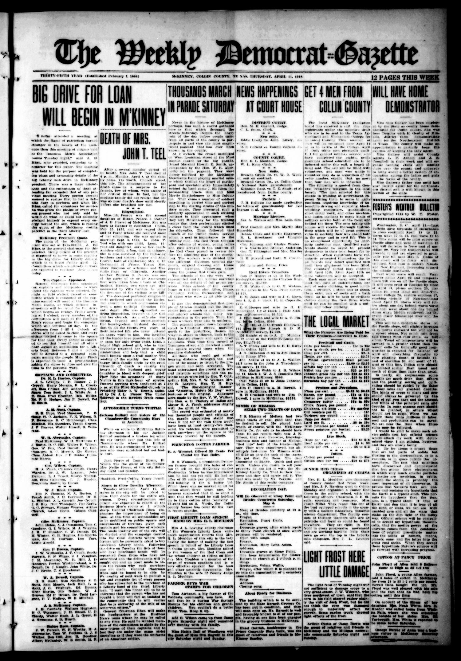 The Weekly Democrat-Gazette (McKinney, Tex.), Vol. 35, Ed. 1 Thursday, April 11, 1918                                                                                                      [Sequence #]: 1 of 12