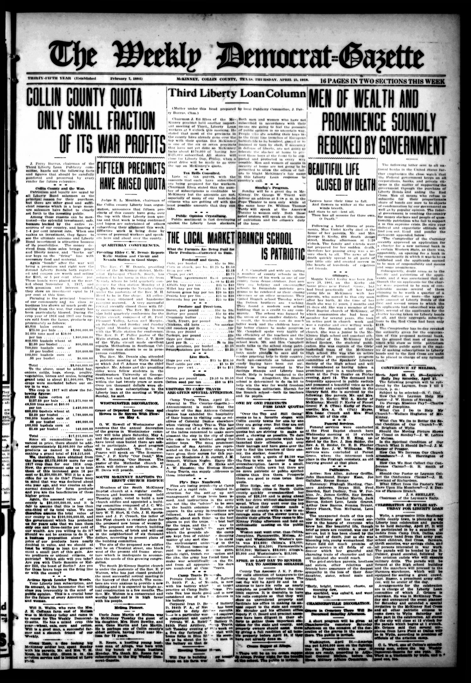 The Weekly Democrat-Gazette (McKinney, Tex.), Vol. 35, Ed. 1 Thursday, April 25, 1918                                                                                                      [Sequence #]: 1 of 16