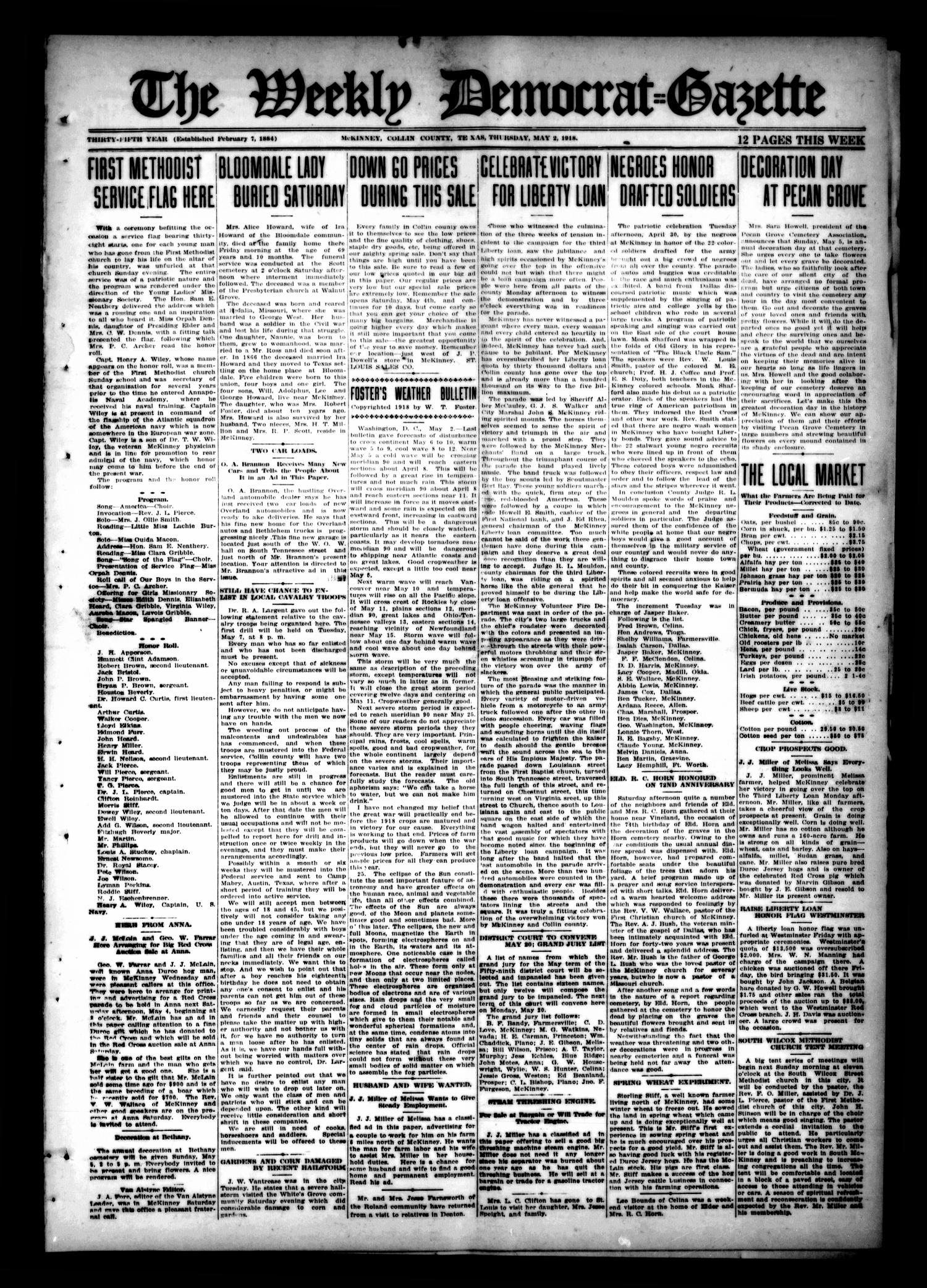 The Weekly Democrat-Gazette (McKinney, Tex.), Vol. 35, Ed. 1 Thursday, May 2, 1918                                                                                                      [Sequence #]: 1 of 12