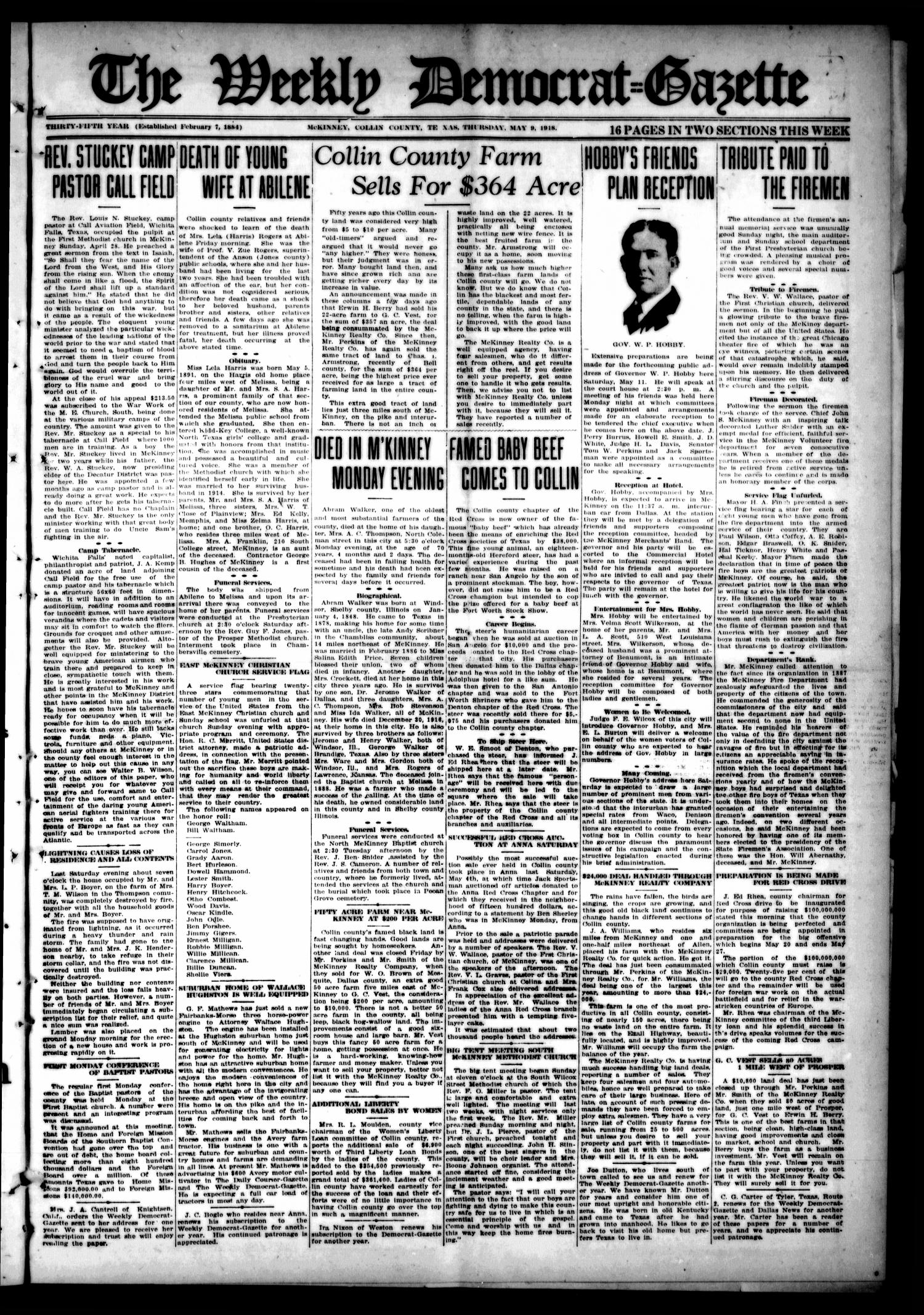 The Weekly Democrat-Gazette (McKinney, Tex.), Vol. 35, Ed. 1 Thursday, May 9, 1918                                                                                                      [Sequence #]: 1 of 16