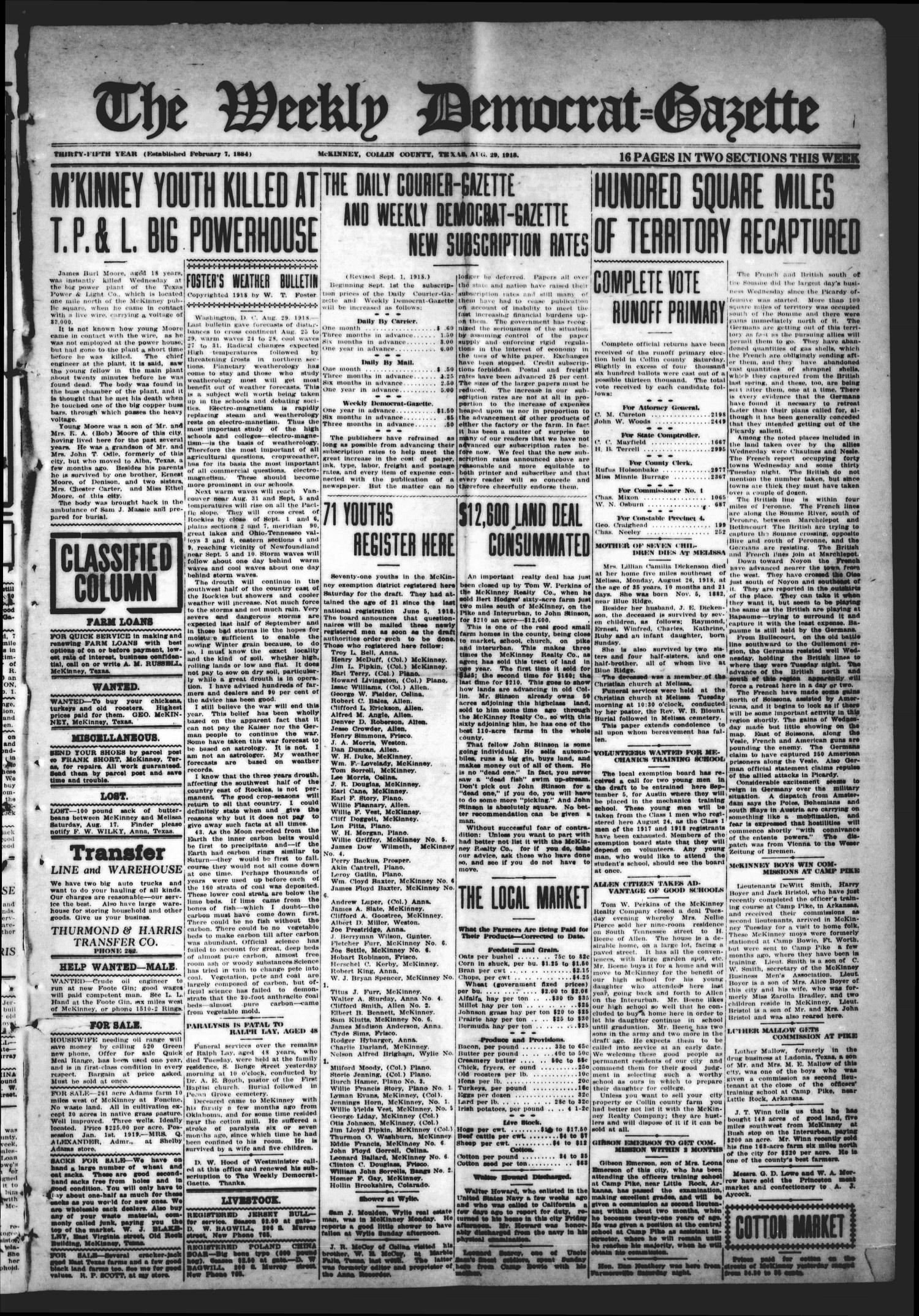 The Weekly Democrat-Gazette (McKinney, Tex.), Vol. 35, Ed. 1 Thursday, August 29, 1918                                                                                                      [Sequence #]: 1 of 16