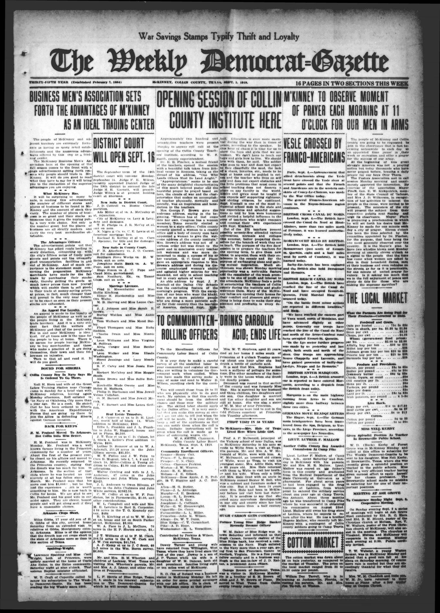 The Weekly Democrat-Gazette (McKinney, Tex.), Vol. 35, Ed. 1 Thursday, September 5, 1918                                                                                                      [Sequence #]: 1 of 16