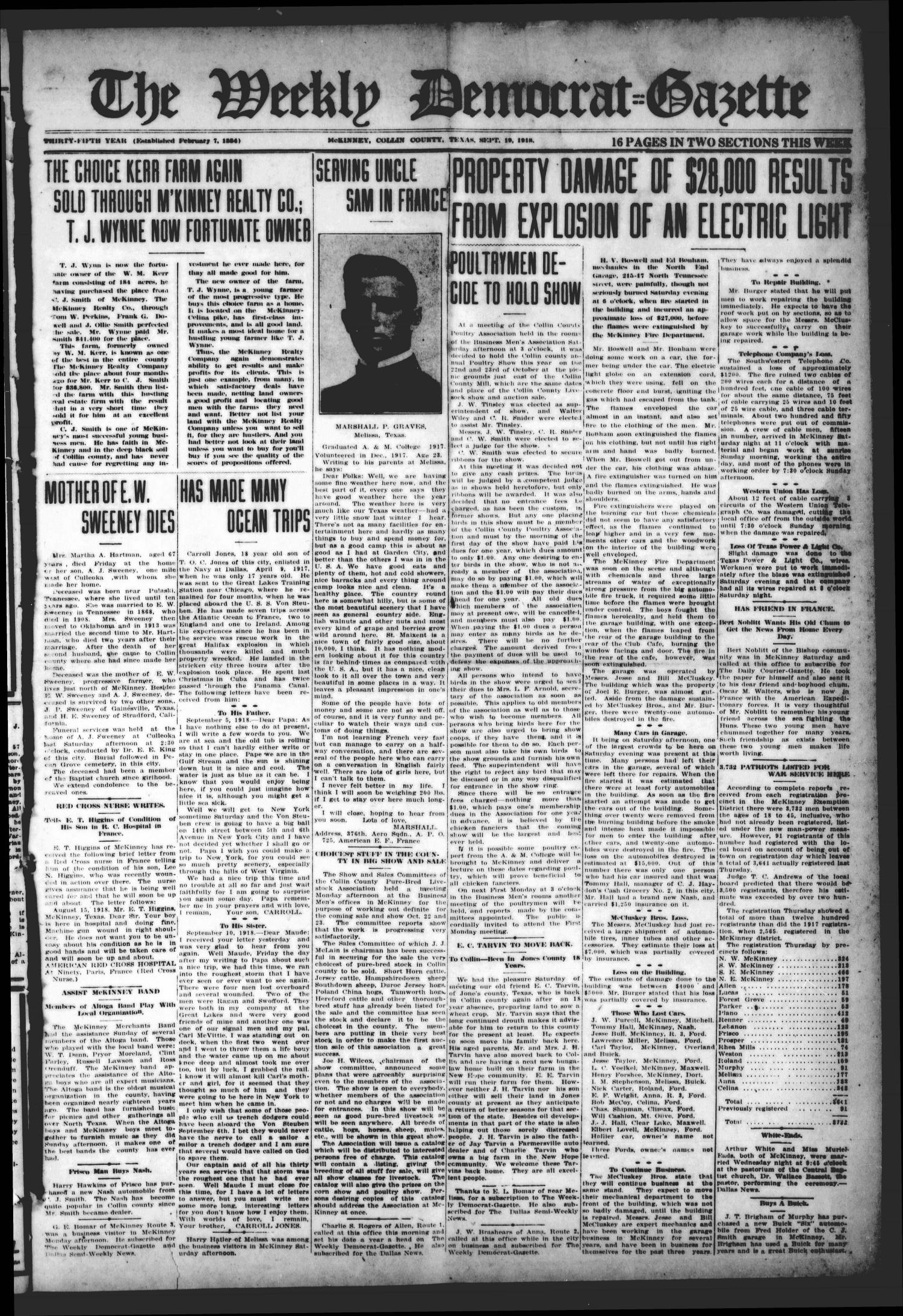 The Weekly Democrat-Gazette (McKinney, Tex.), Vol. 35, Ed. 1 Thursday, September 19, 1918                                                                                                      [Sequence #]: 1 of 16