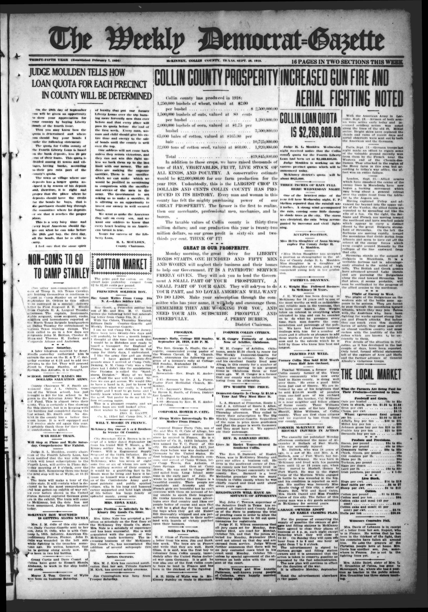 The Weekly Democrat-Gazette (McKinney, Tex.), Vol. 35, Ed. 1 Thursday, September 26, 1918                                                                                                      [Sequence #]: 1 of 16