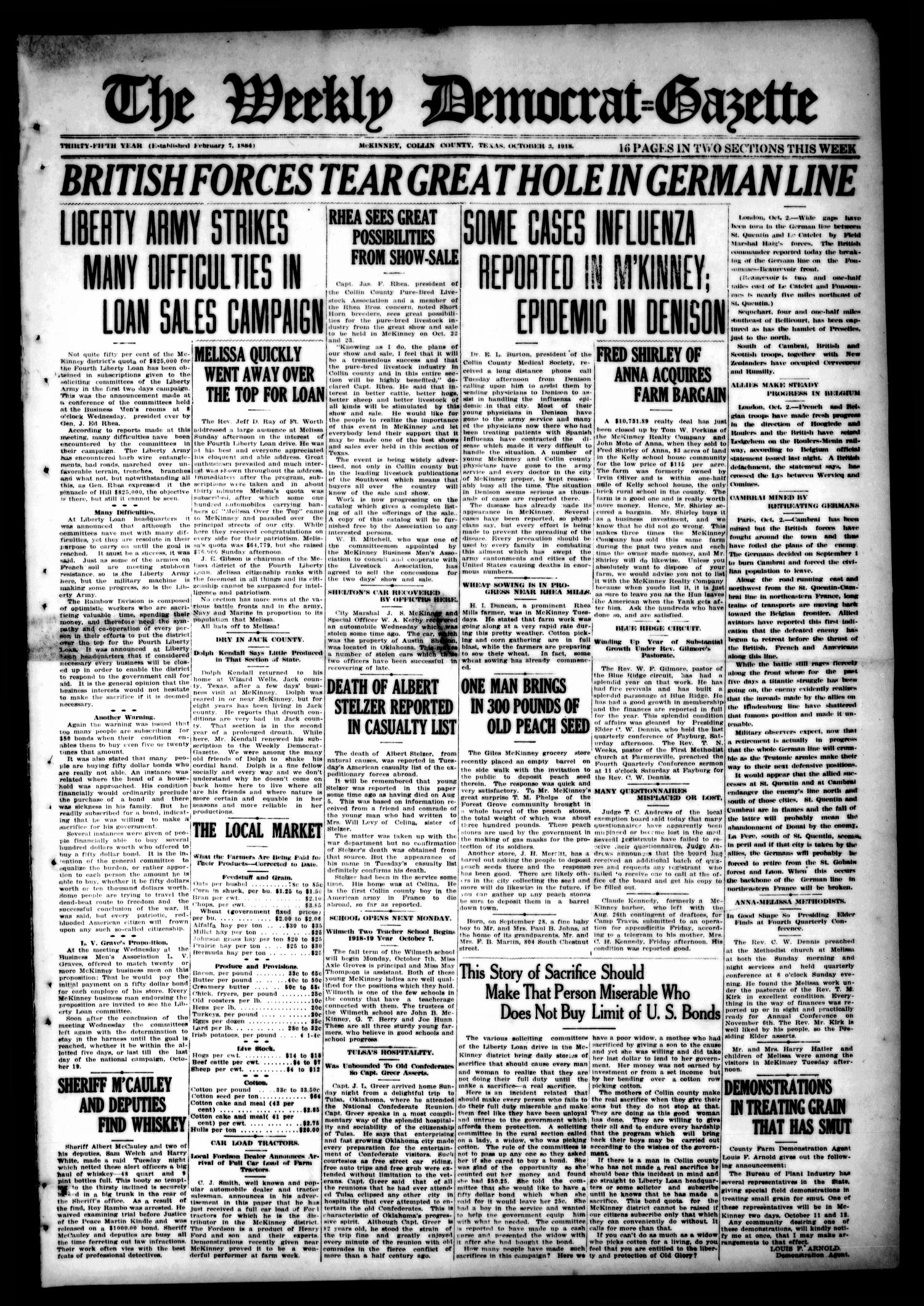 The Weekly Democrat-Gazette (McKinney, Tex.), Vol. 35, Ed. 1 Thursday, October 3, 1918                                                                                                      [Sequence #]: 1 of 16