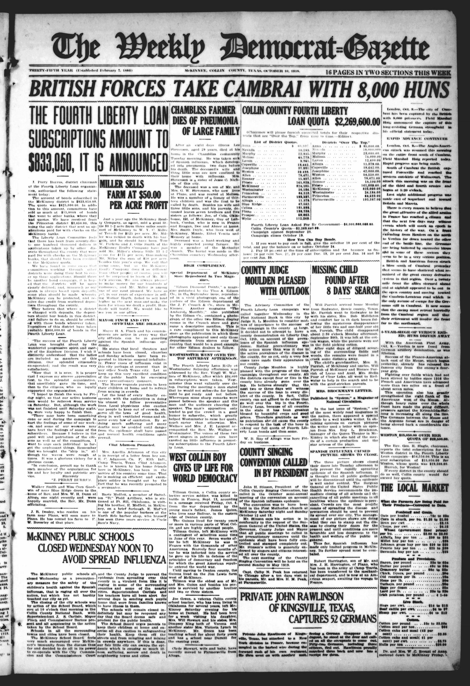 The Weekly Democrat-Gazette (McKinney, Tex.), Vol. 35, Ed. 1 Thursday, October 10, 1918                                                                                                      [Sequence #]: 1 of 16