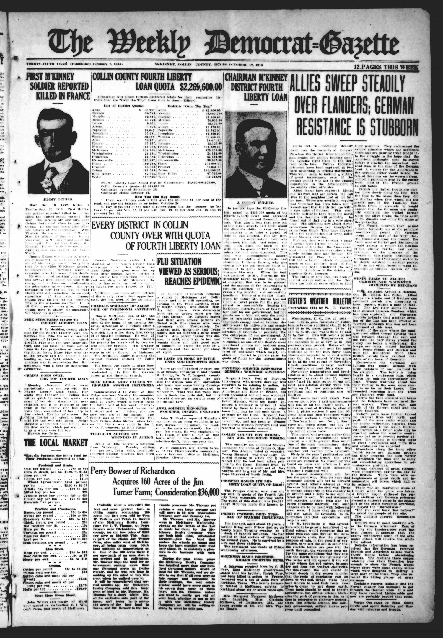 The Weekly Democrat-Gazette (McKinney, Tex.), Vol. 35, Ed. 1 Thursday, October 17, 1918                                                                                                      [Sequence #]: 1 of 12