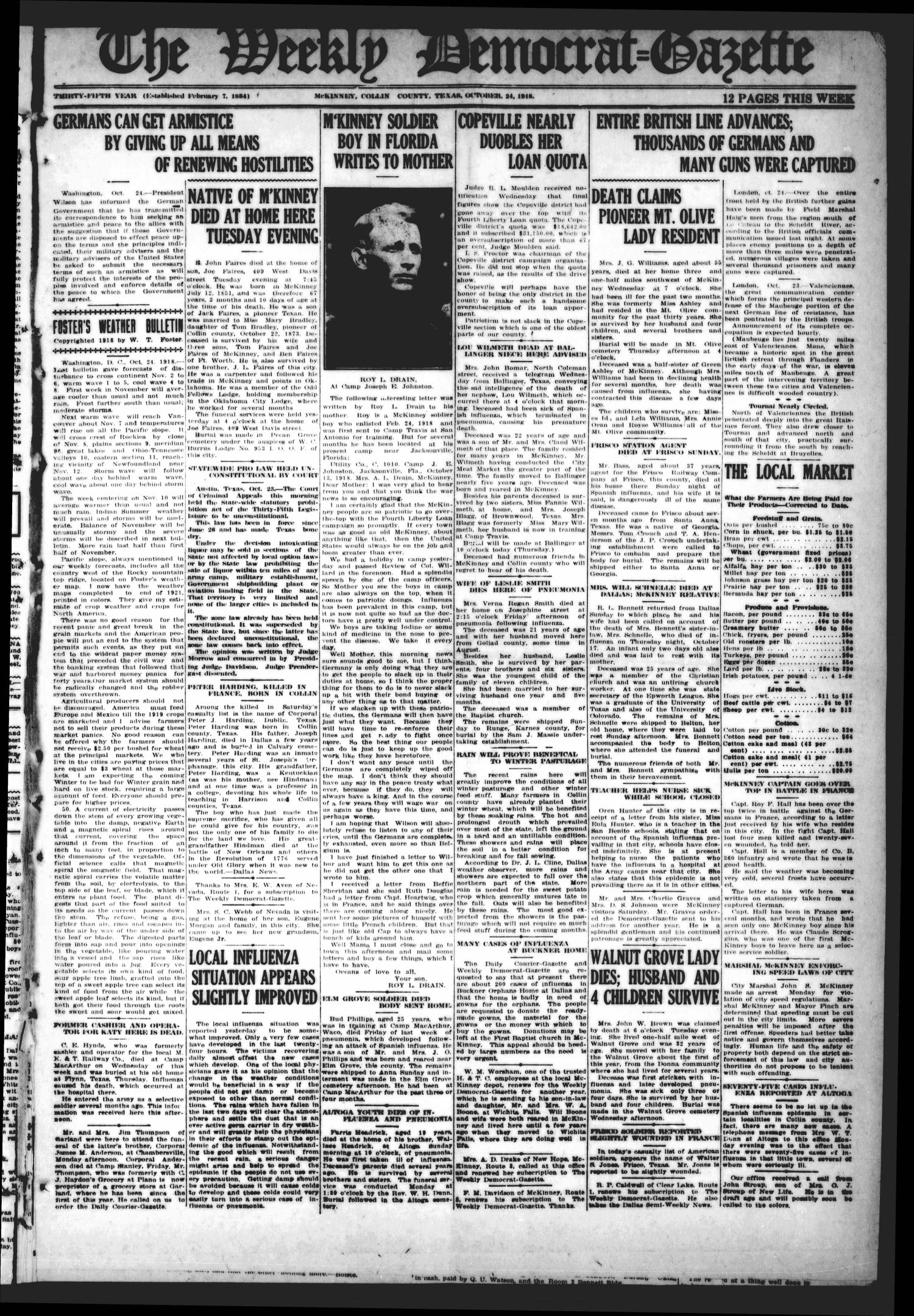 The Weekly Democrat-Gazette (McKinney, Tex.), Vol. 35, Ed. 1 Thursday, October 24, 1918                                                                                                      [Sequence #]: 1 of 12