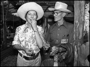 Primary view of object titled '[Claudia Ball with O. T. Baker at Smokehouse]'.