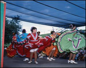 Primary view of object titled '[Mexican Folk Dancers Performing]'.