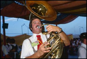 Primary view of object titled '[Tuba Player of the Wurstfest Opa Band]'.