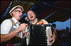 Primary view of object titled '[Robert Thonoff with Ed Kadlecek, Jr. of the Wurstfest Opa Band]'.