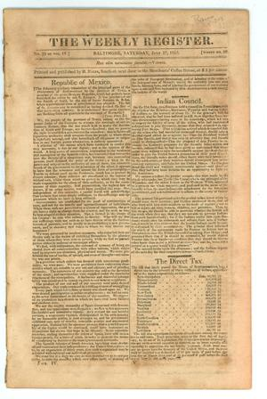 Primary view of object titled 'The Weekly Register (Baltimore, Md.), Volume 4, Number 20, Saturday, July 17, 1813'.