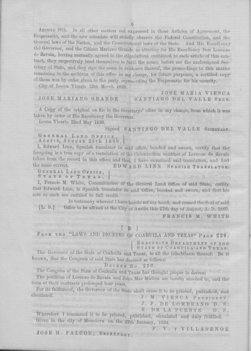Memorial to the legislature of the State of Texas, of Wm. H. Jones, Administrator of the estate of Lorenzo de Zavala, deceased, empresario of Zavala's Colony                                                                                                      [Sequence #]: 10 of 16