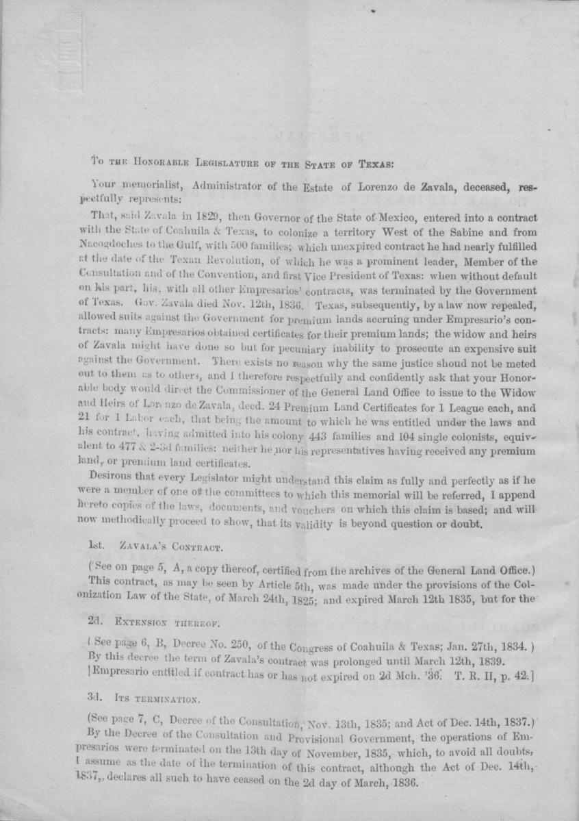 Memorial to the legislature of the State of Texas, of Wm. H. Jones, Administrator of the estate of Lorenzo de Zavala, deceased, empresario of Zavala's Colony                                                                                                      [Sequence #]: 6 of 16