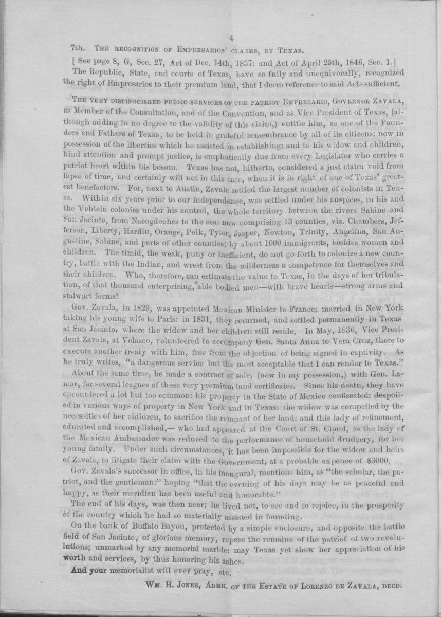 Memorial to the legislature of the State of Texas, of Wm. H. Jones, Administrator of the estate of Lorenzo de Zavala, deceased, empresario of Zavala's Colony                                                                                                      [Sequence #]: 8 of 16