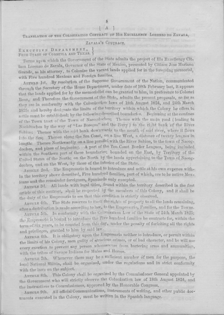 Memorial to the legislature of the State of Texas, of Wm. H. Jones, Administrator of the estate of Lorenzo de Zavala, deceased, empresario of Zavala's Colony                                                                                                      [Sequence #]: 9 of 16