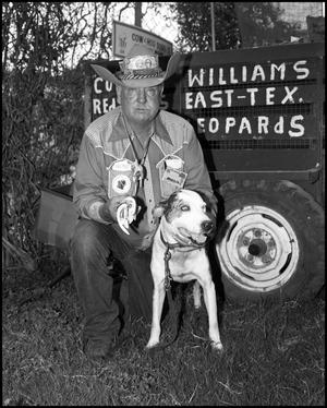 "Primary view of object titled '[Virge T. ""Cowboy"" Williams with his Dog]'."