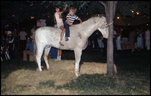 Primary view of object titled '[Children Riding Artificial Horse in Frontier Playland]'.