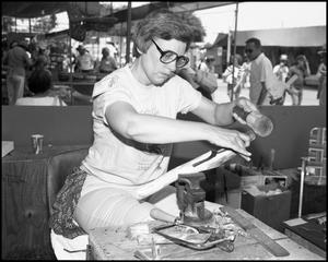 Primary view of object titled '[Nancy Lou Webster Making Treenware]'.