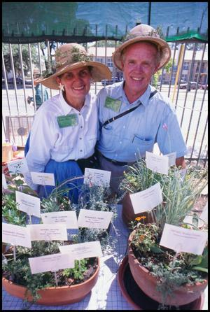 Primary view of object titled '[Annie and Eddie Morris with the San Antonio Herb Society]'.