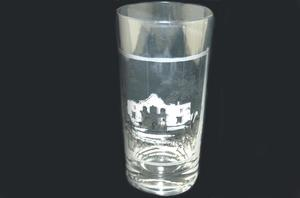 Primary view of object titled '[Glass with a picture of the San Antonio de Valero mission]'.