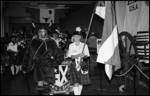 Primary view of object titled '[Norwegian Vikings Marching in the San Antonio Pipes and Drums Parade]'.