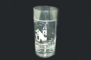 Primary view of object titled '[Glass with a picture of Senora del Carmen mission]'.