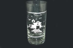 Primary view of object titled '[Glass with a picture of the La Bahia mission]'.