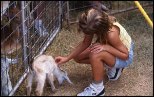 Primary view of object titled '[Girl with Baby Goat at Running Springs Exotics Petting Zoo]'.