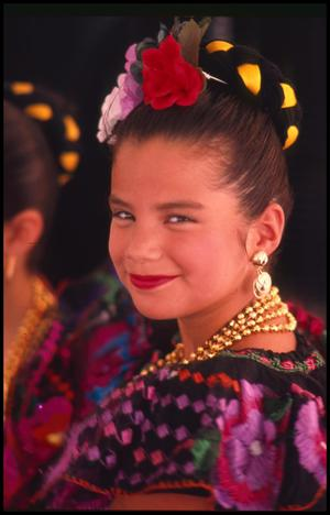 Primary view of object titled '[Dancer from Ballet Folklorico de San Antonio]'.
