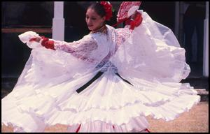Primary view of object titled '[Mexican Folk Dancers at Fandango Outside Frontier Fort]'.