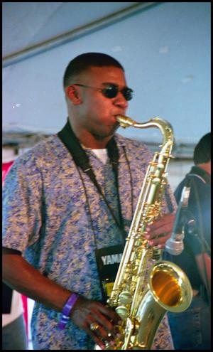 Primary view of object titled '[Serengeti Fusion Jazz Band Member]'.