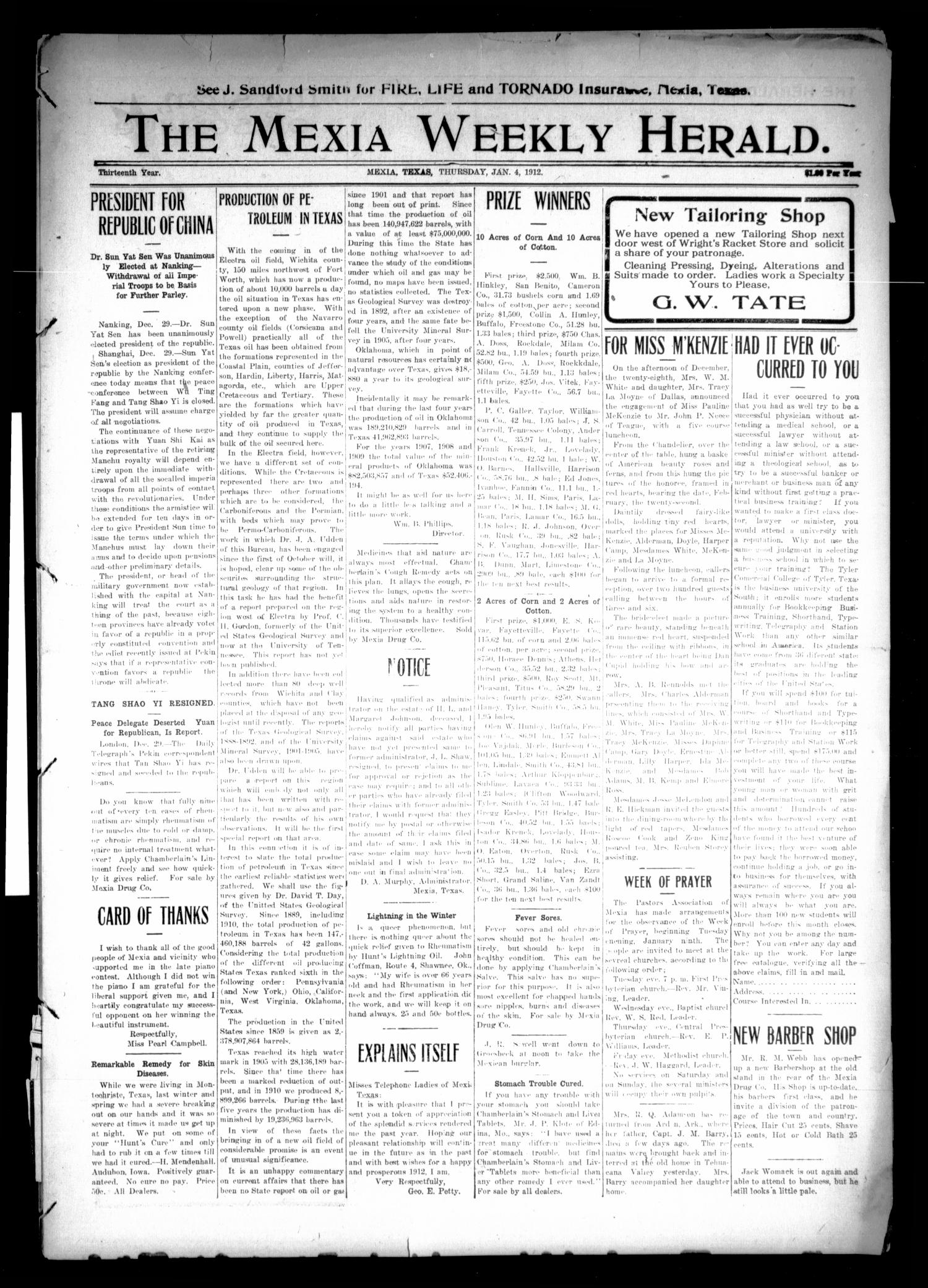 The Mexia Weekly Herald (Mexia, Tex.), Vol. 13, Ed. 1 Thursday, January 4, 1912                                                                                                      [Sequence #]: 1 of 10