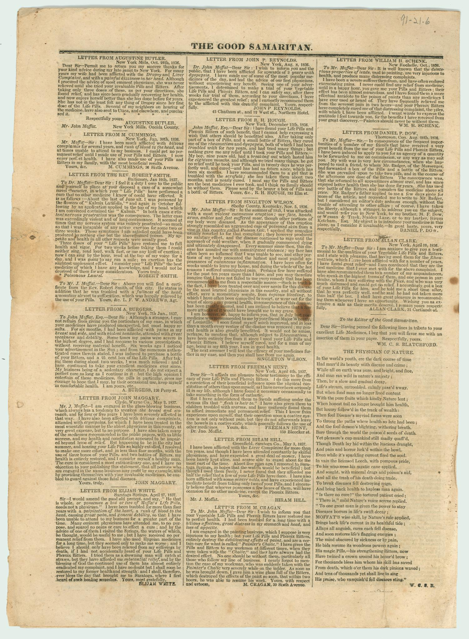 The Good Samaritan. (New York, N.Y.) No. 9, Ed. 1, June 1837                                                                                                      [Sequence #]: 4 of 4