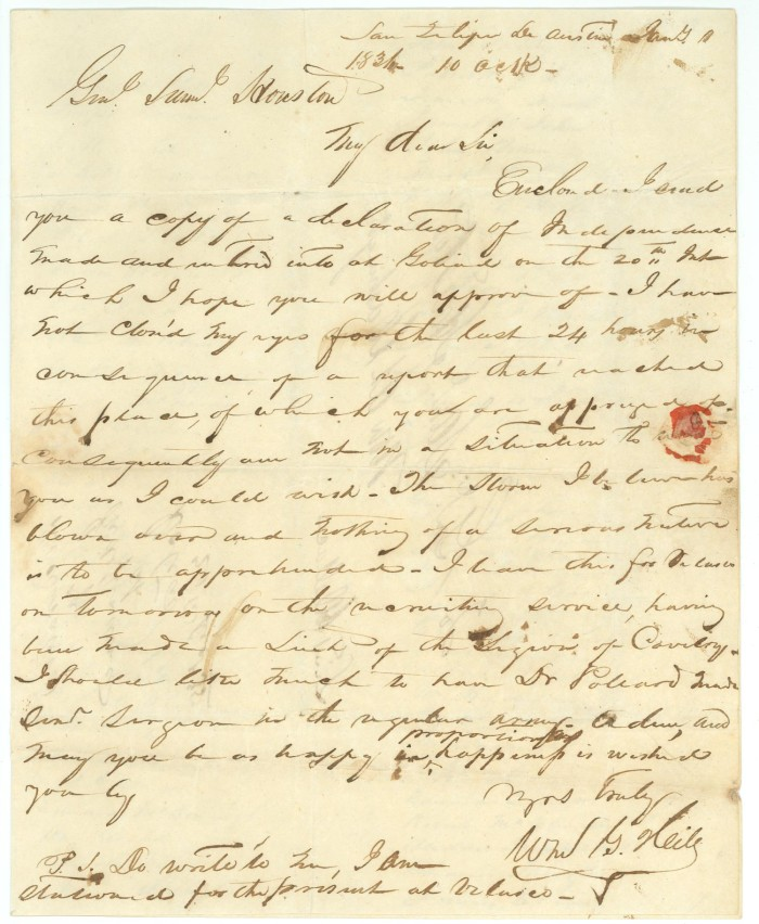 Letter To Sam Houston The Portal To Texas History