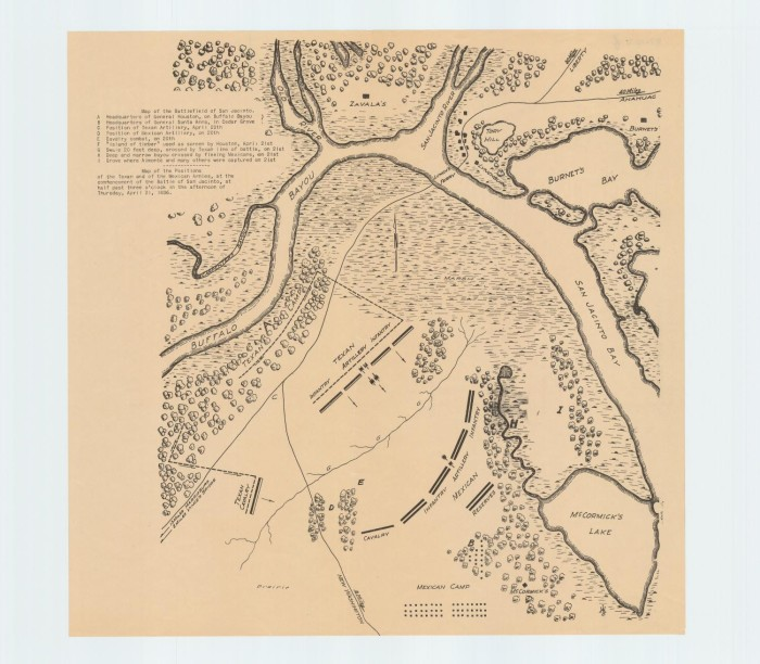 Map Of The Battlefield Of San Jacinto The Portal To Texas History - Battle of san jacinto map
