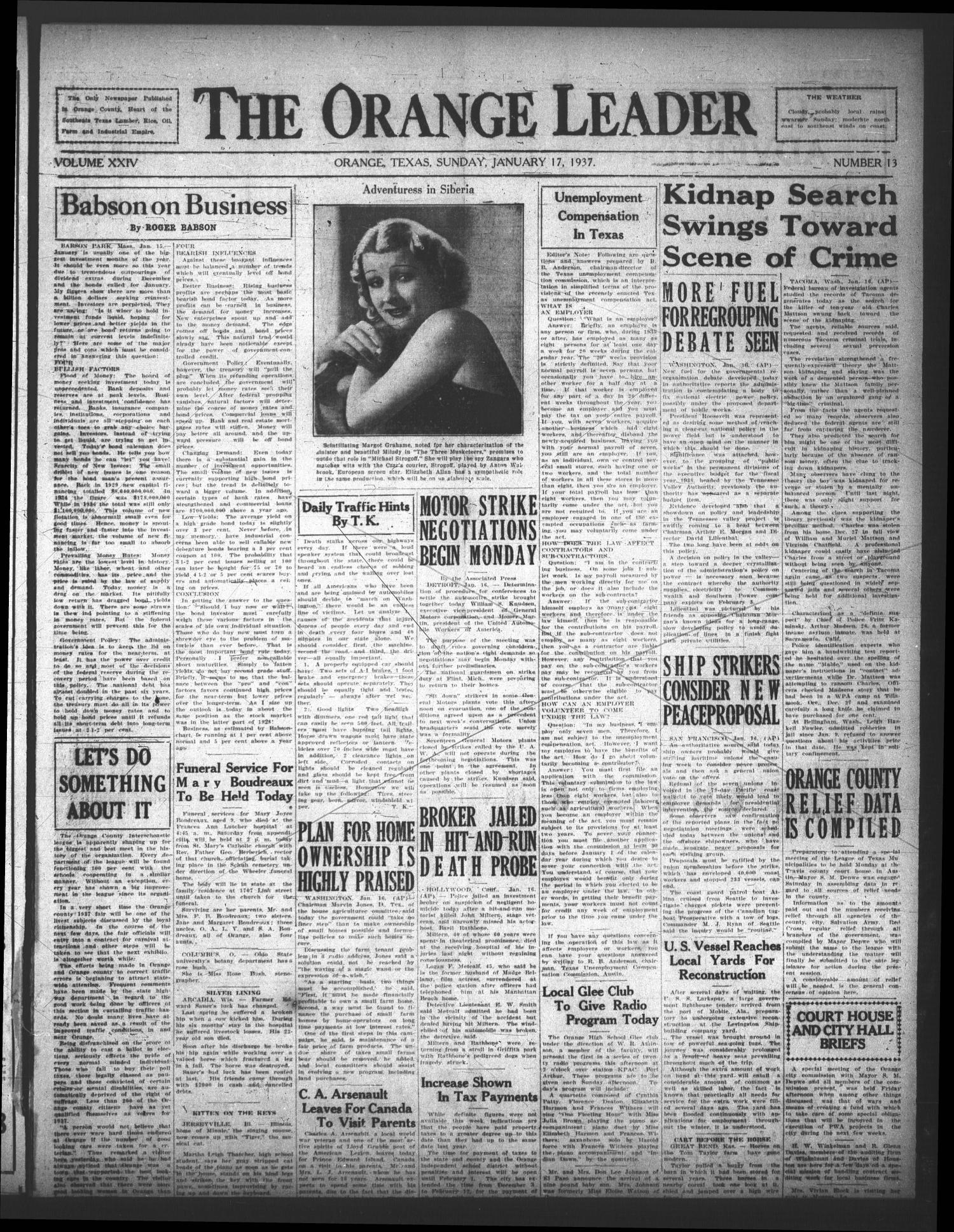 The Orange Leader (Orange, Tex.), Vol. 24, No. 13, Ed. 1 Sunday, January 17, 1937 - Page 1 of 4 - The Portal to Texas History