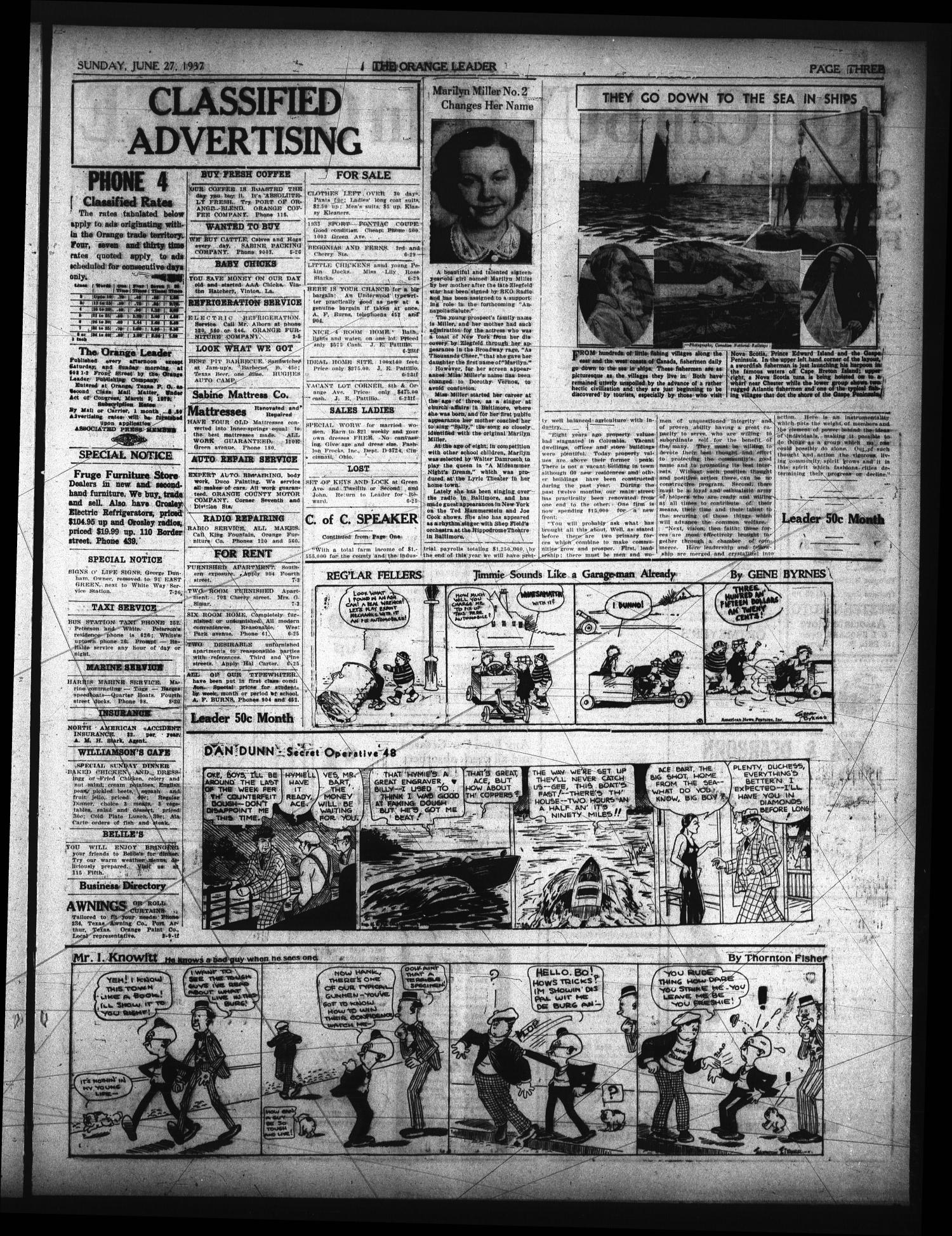 The Orange Leader (Orange, Tex.), Vol. 24, No. 251, Ed. 1 Sunday, June 27, 1937                                                                                                      [Sequence #]: 3 of 4