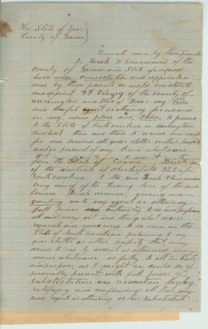 Primary view of object titled '[Sarah Zimmerman granting power of attorney to her agent, April 4, 1860]'.