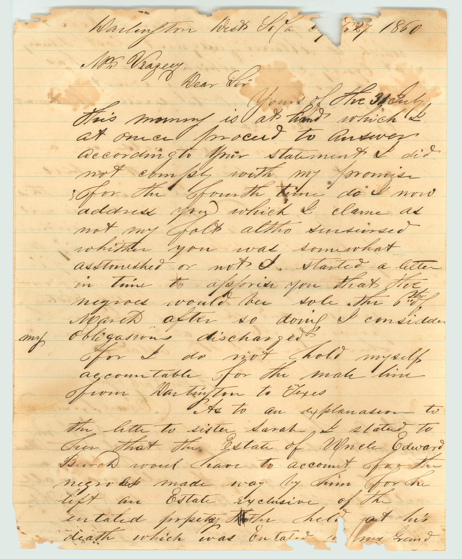 [Letter from Edward S. Burch to Mr. Veazey, 1860]                                                                                                      [Sequence #]: 1 of 2