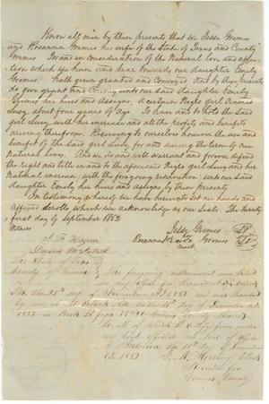 Primary view of object titled '[Deed of slave Lucy to Emily Grimes]'.