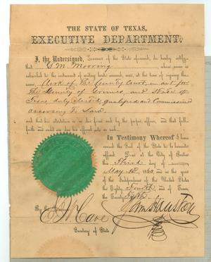 Primary view of object titled '[Statement certifying G.M. Mooring as Clerk of the County Court of Grimes County, May 3, 1860, and signed by Governor Sam Houston]'.