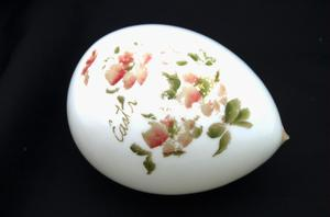 "Primary view of object titled '[Small glass object with the word, ""Easter""]'."