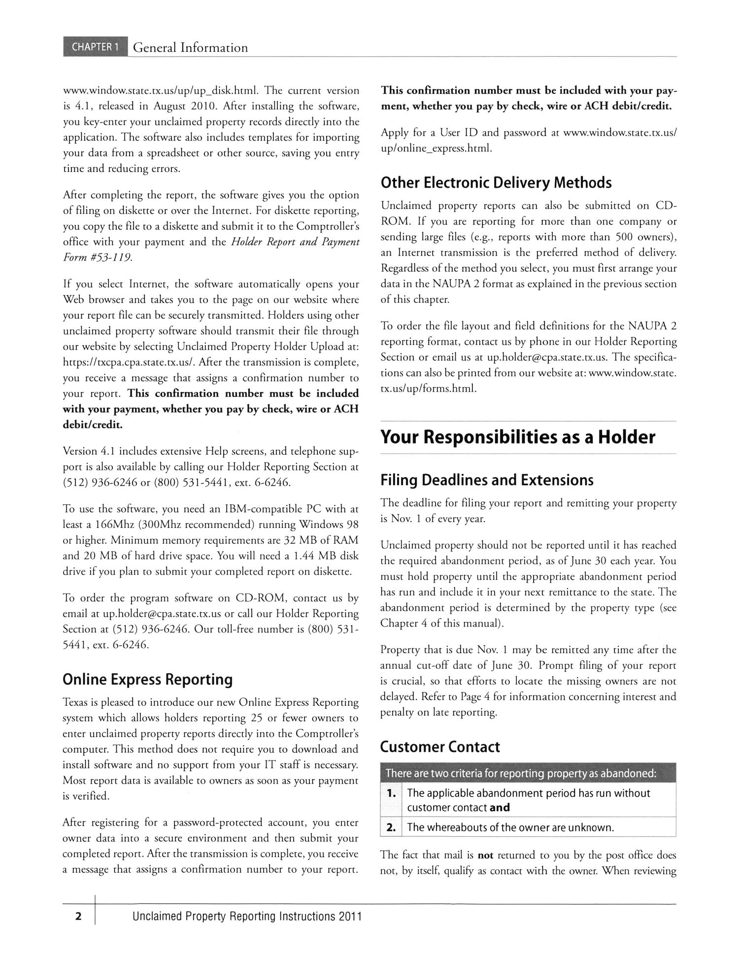 Unclaimed Property Reporting Instructions 2011 Page 2 The