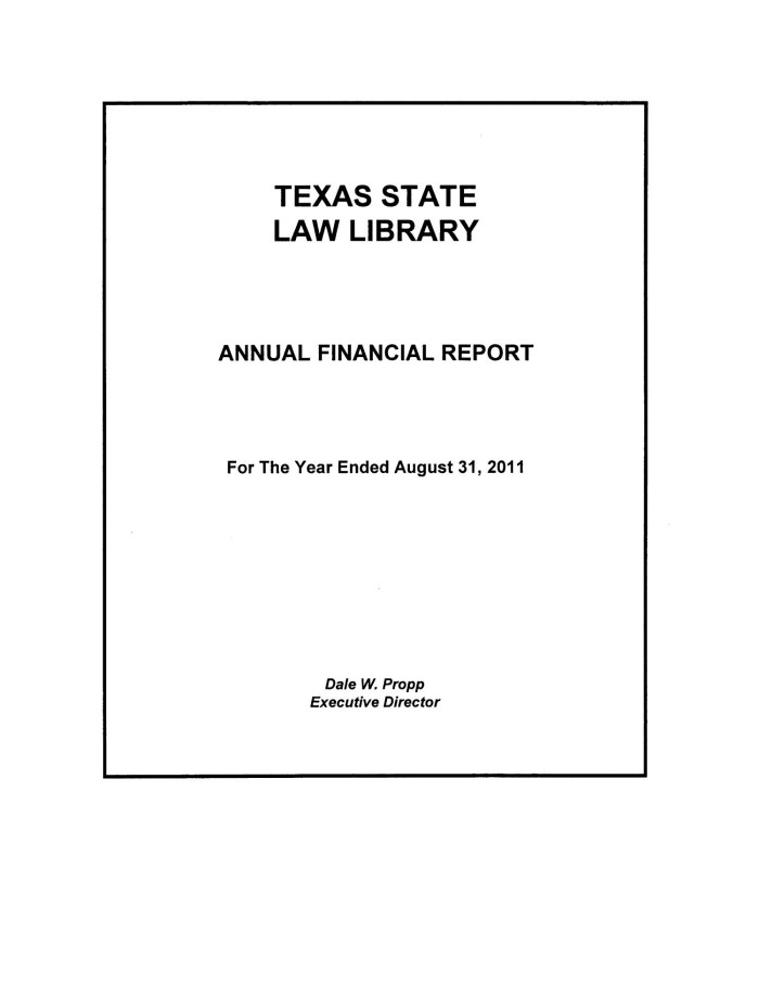 primary view of object titled texas state law library annual financial report 2011