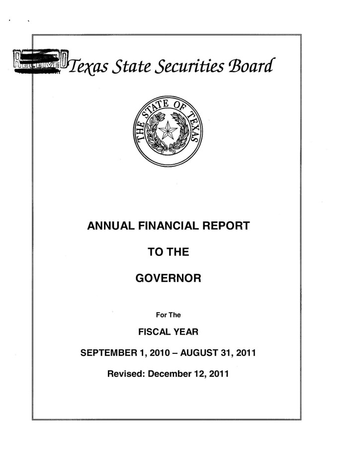 primary view of object titled texas state securities board annual financial report 2011
