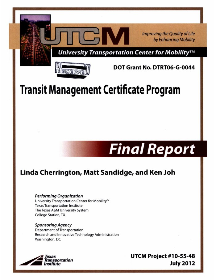 Transit Management Certificate Program - The Portal to Texas History