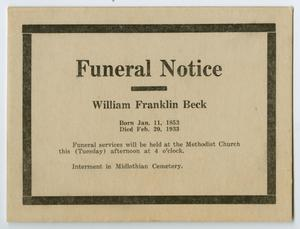 Primary view of object titled '[Funeral Notice for William Franklin Beck]'.